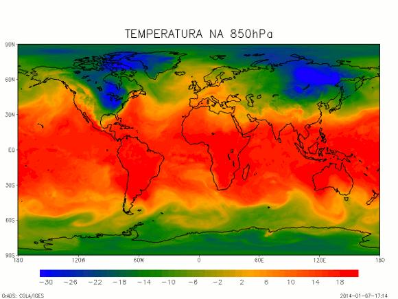 Temperatura zraka na plohi 850hPa (oko 1,5km visine)