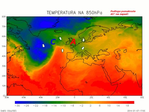 """Nova sinoptička situacija nad Europom nakon zamišljenog """"pomaka kontinenta"""" prema zapadu što je ekvivalentno pomaku zračnih masa u prema istoku."""