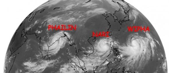 Rijetko viđena tri moćna tropska sustava: Phailin, Nari, Wipha…