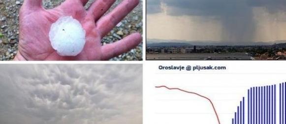 Vrućine pa nevrijeme: U Oroslavju palo 50 litara kiše u sat vremena (FOTO)
