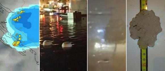 Olujno nevrijeme uz tuču, pijavicu i poplave pogodilo Murter i obalu (FOTO, VIDEO)