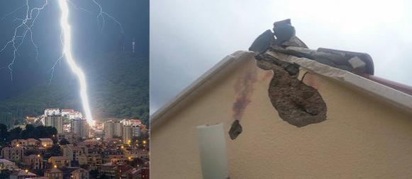 Pogledajte munju koja je oštetila obiteljsku kuću u Dubrovniku