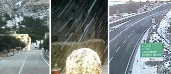 Snijeg jutros zabijelio dio Zagore, padao i na makarskom području s olujnom burom