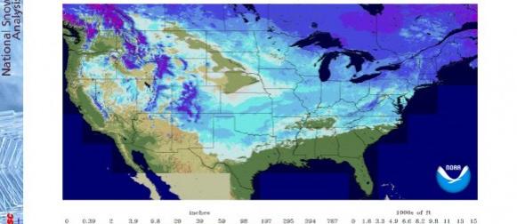 SAD:  Na početku ožujka snijeg prekriva 63% teritorija SAD-a, nema ga samo na tlu Floride