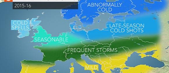 Accuweather sezonska prognoza za zimu u Europi