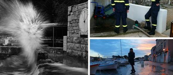 Plima i valovi poplavili Primošten i Stari Grad na Hvaru (FOTO, VIDEO)