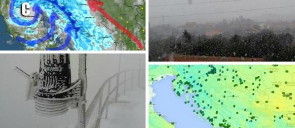 """Ciklona Goran: Snijeg """"s mora"""" zabijelio dijelove Dalmacije i Istre (FOTO, VIDEO)"""