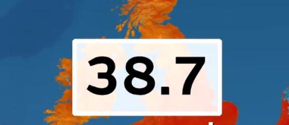 Velika Britanija:  Izmjerena najviša temperatura u povijesti mjerenja   38.7 °C